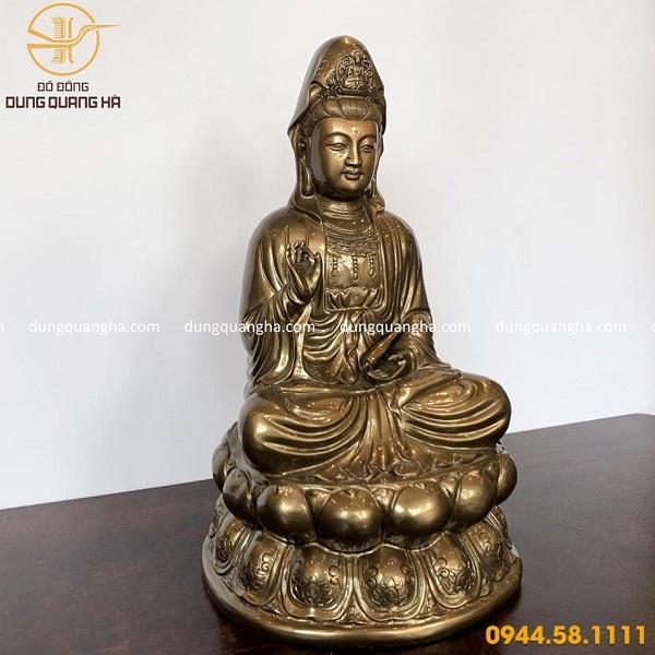 Tượng Phật Quan Âm bằng đồng đỏ mộc đẹp tôn nghiêm