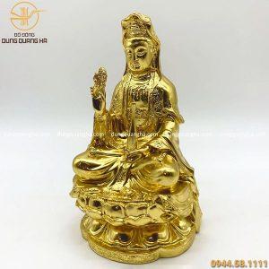 Tượng Quan Thế Âm Bồ Tát tọa đài sen bằng đồng mạ vàng