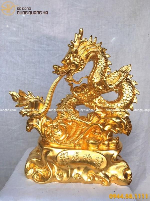 Tượng rồng phong thủy phun lửa thếp vàng 9999 đẹp ấn tượng