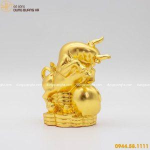 Tượng trâu bằng đồng thếp vàng mẫu 2 thiết kế độc đáo