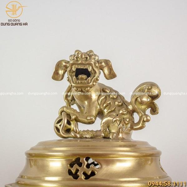 Bộ đồ thờ ngũ sự bằng đồng vàng mộc chạm dơi cao 50cm