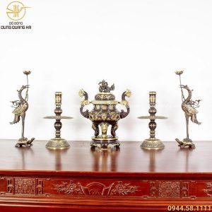 Bộ đồ thờ ngũ sự đồng vàng hai màu - đỉnh 50cm chạm rồng