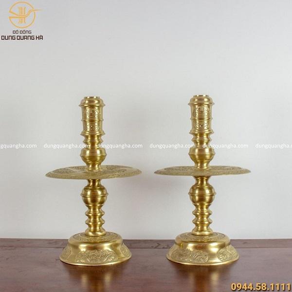 Bộ đồ thờ ngũ sự đồng vàng mộc chạm rồng nổi cao 60cm