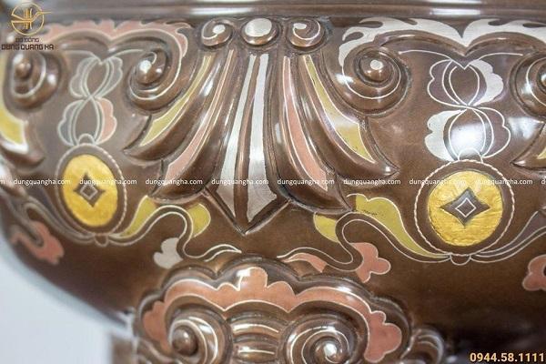 Bộ đồ thờ ngũ sự khảm ngũ sắc - đỉnh 50cm chạm sòi chữ Hán