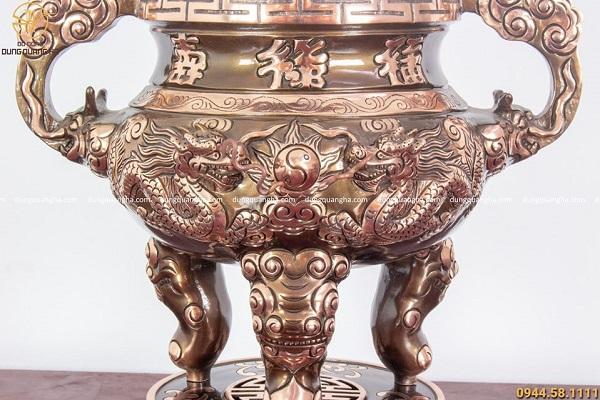 Bộ ngũ sự bằng đồng đỏ cạo màu - đỉnh 60cm chạm rồng chữ Hán
