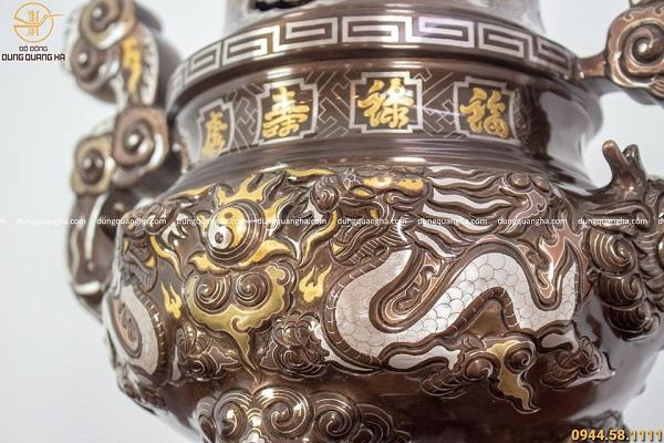 Bộ ngũ sự bằng đồng khảm ngũ sắc cao 50cm đỉnh chạm rồng