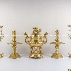 Bộ ngũ sự bằng đồng vàng mộc cao 45cm chạm sòi trơn