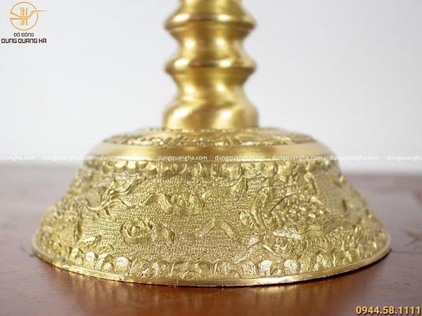 Bộ ngũ sự bằng đồng vàng mộc chạm rồng nổi cao 45cm