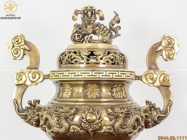Bộ ngũ sự đồng vàng hai công nghệ - đỉnh 70cm chạm rồng nổi