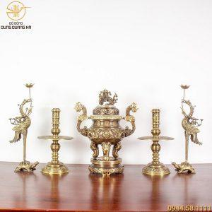 Bộ ngũ sự đồng vàng hai công nghệ - đỉnh cao 60cm chạm rồng (mẫu 1)