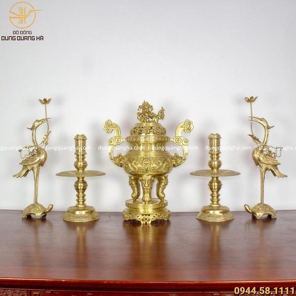 Bộ ngũ sự đồng vàng mộc - cao 60cm chạm rồng (mẫu 2)