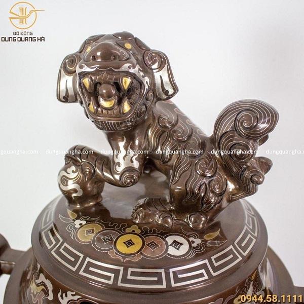 Bộ ngũ sự khảm ngũ sắc - đỉnh 70cm chạm rồng (thân rồng khảm vàng)