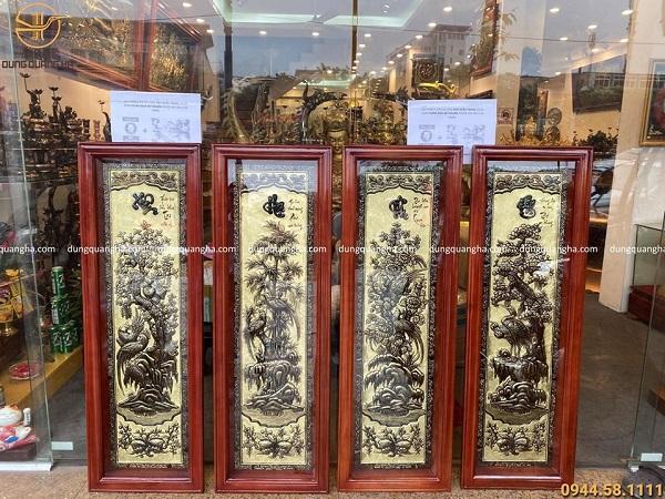 Bộ tranh Tứ quý đẹp bằng đồng kích thước 1m2 xước giả cổ