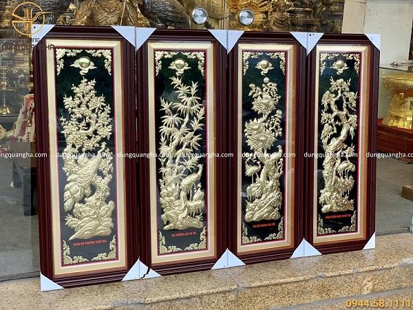 Bộ tranh Tứ quý kích thước 1m x 37cm nền đồng vàng mộc khung giả gỗ