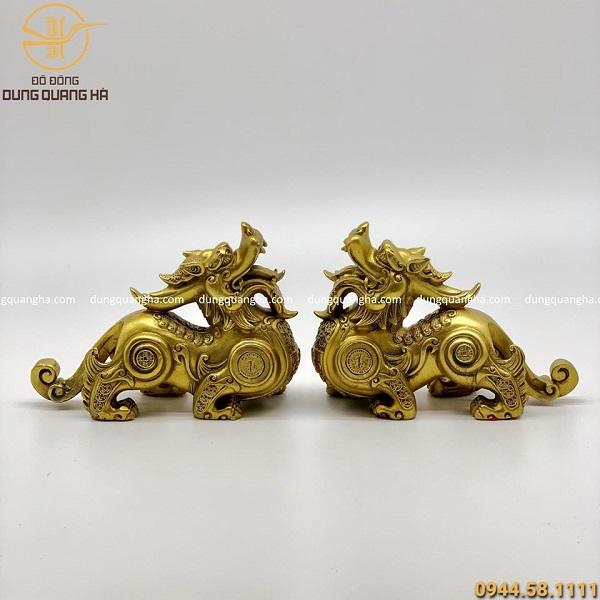 Cặp tượng Tỳ Hưu phong thủy bằng đồng vàng mộc