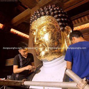 Dát vàng tượng Phật đẹp tôn nghiêm cao cấp tại đình, chùa