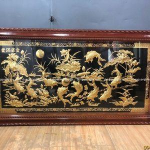 Tranh Cửu Ngư Quần Hội 2m3 x 1m2 dát vàng, họa tiết khung cách điệu