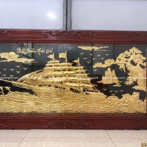 Tranh Thuận Buồm Xuôi Gió 1m7 x 90cm dát vàng khung gỗ gụ