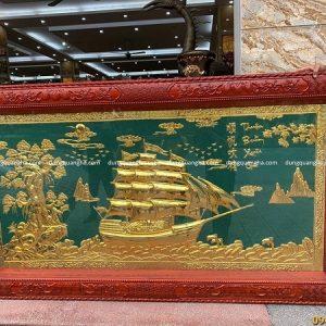 Tranh Thuận Buồm Xuôi Gió dát vàng nền xanh ngọc phong thủy