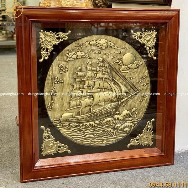 Tranh Thuận Buồm Xuôi Gió đồng vàng thúc nổi khung 80x80 cm