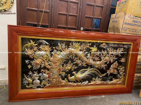 Tranh Vinh Hoa Phú Quý chạm tam khí kích thước 2m3 x 1m2
