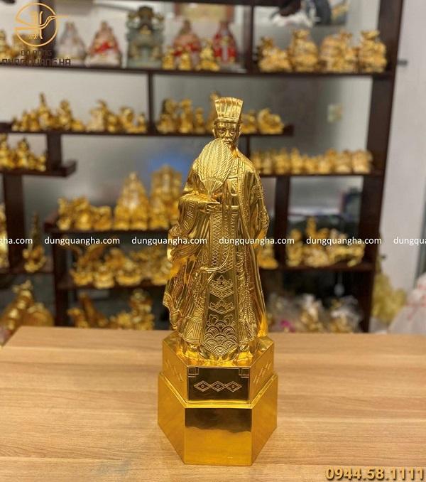 Tượng Khổng Minh bằng đồng cao 70cm dát vàng 9999