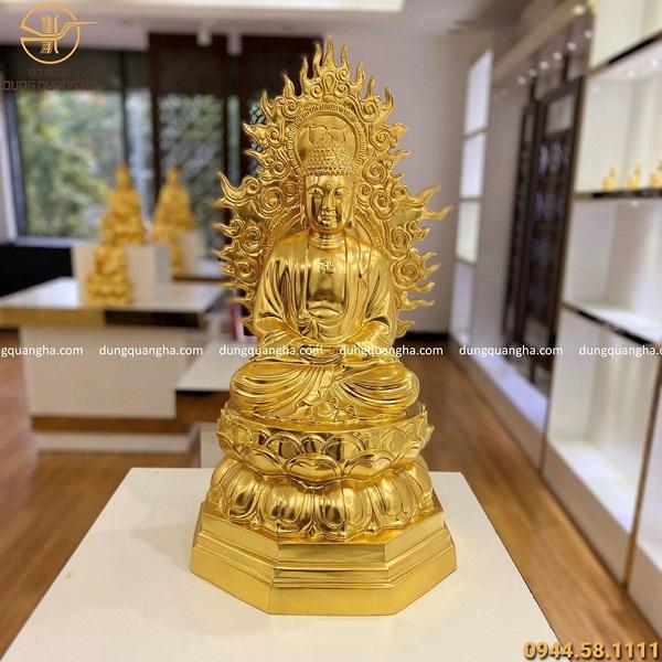 Tượng Phật A Di Đà bằng đồng dát vàng 9999 cao 67cm