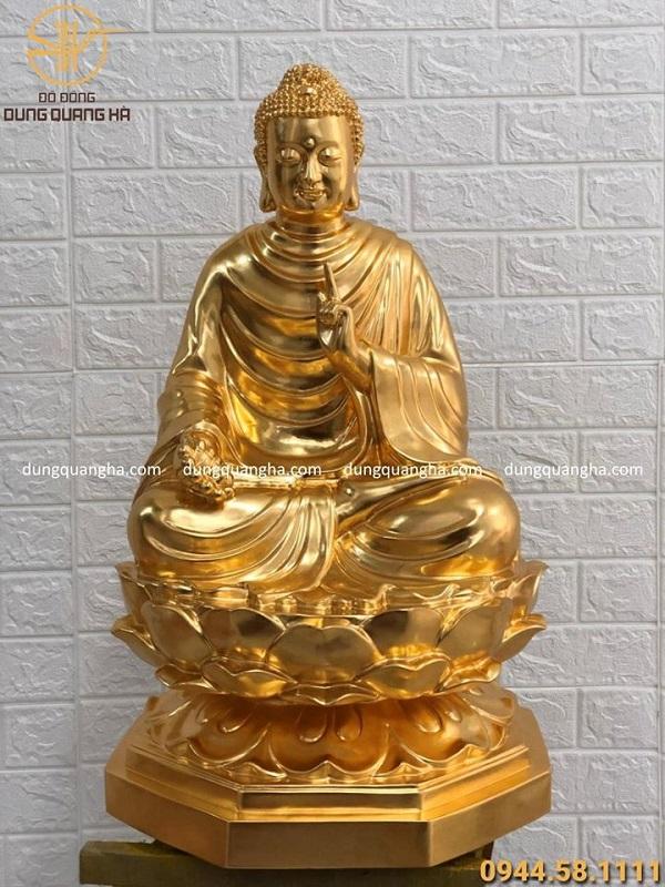 Tượng Phật Thích Ca bằng đồng dát vàng 9999 cao 67cm