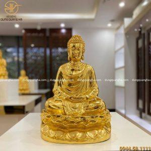 Tượng Phật Thích Ca ngồi đài sen dát vàng 9999 cao 47cm
