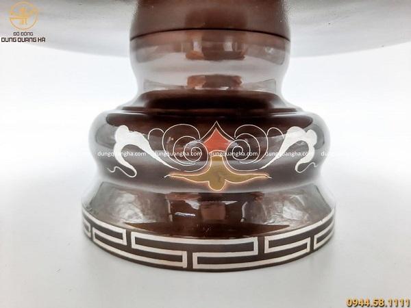 Bộ mâm bồng đẹp bằng đồng khảm ngũ sắc cao cấp mẫu 2