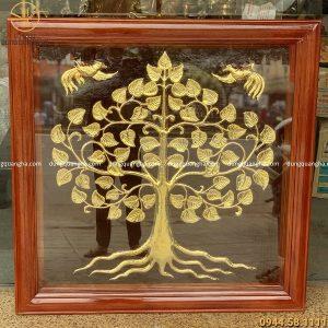 Tranh Cây Kim Tiền mạ vàng khung gỗ vuông 1m07 hàng khách đặt mẫu