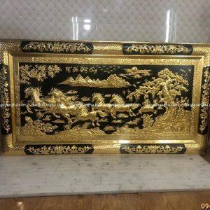 Tranh Mã Đáo Thành Công 2m3 x 1m2 khung liền đồng dát vàng