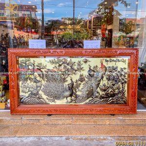 Tranh Ngọc Đường Phú Quý khung gỗ hoa văn tứ quý tinh xảo