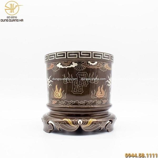 Bát hương đồng đỏ khảm ngũ sắc cao 18cm hoa văn cổ kính