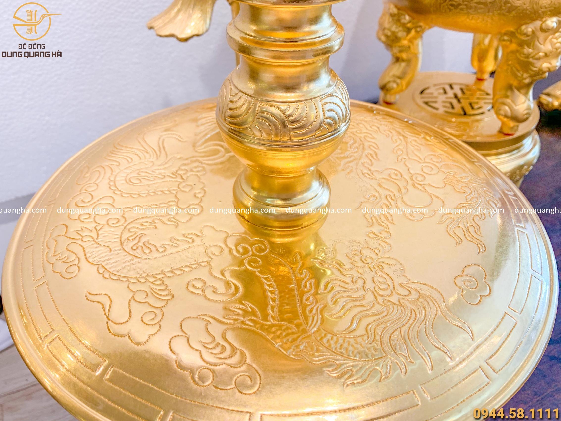 Bộ ngũ sự chạm sòi bằng đồng dát vàng 9999 khảm 5 chữ Hán