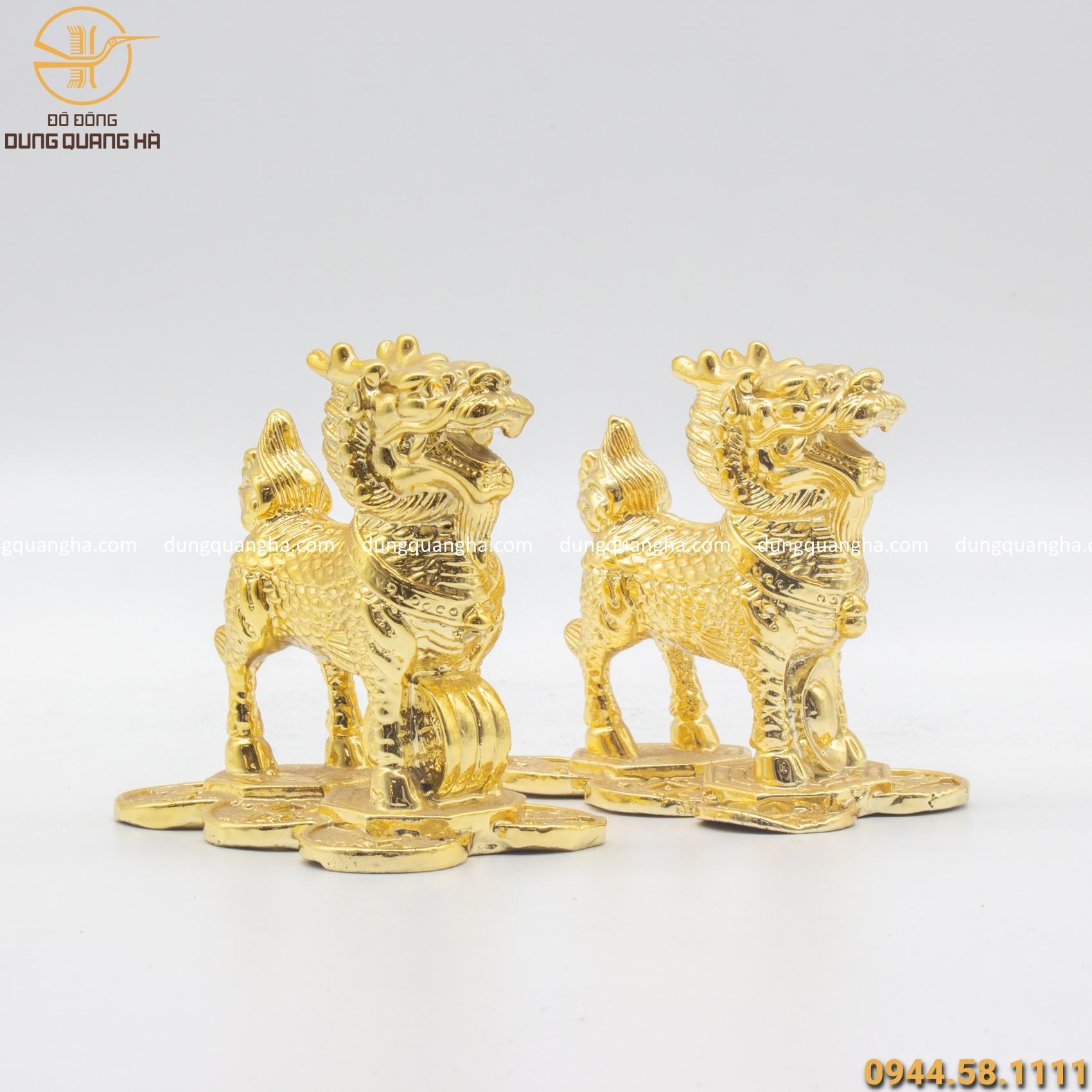 Kỳ Lân phong thủy để bàn bằng đồng mạ vàng 24k độc đáo