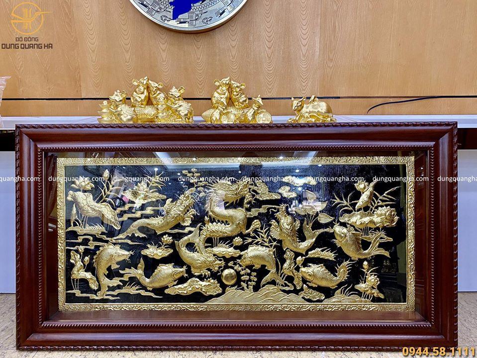 Tranh cá chép hoá rồng đồng vàng thếp vàng 1m7 x 90 cm