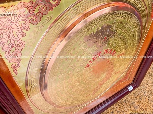 Tranh mặt trống đồng bản đồ Việt Nam khung vuông tinh tế