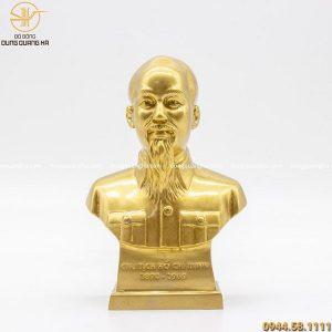 Tượng chân dung Bác Hồ bằng đồng vàng mộc cỡ nhỏ 6cm