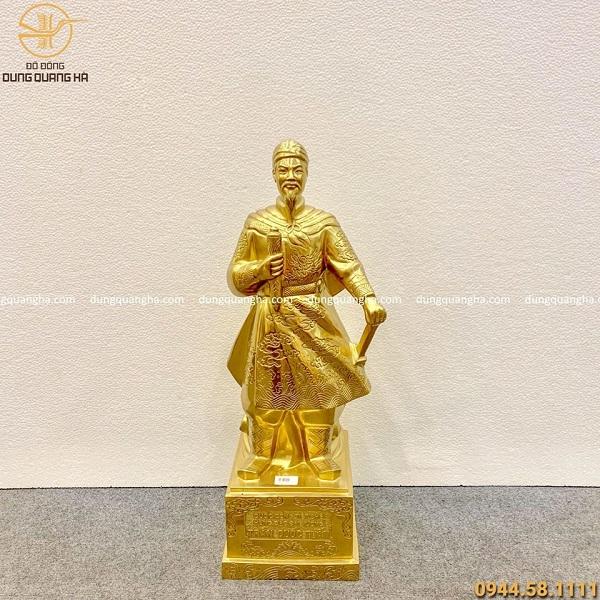 Tượng Đức Thánh Trần Hưng Đạo bằng đồng thếp vàng 9999
