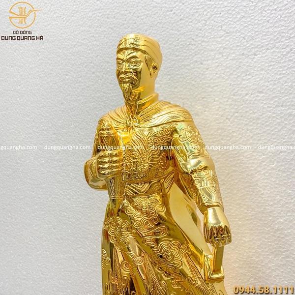 Tượng Trần Hưng Đạo bằng đồng mạ vàng 24k đẹp tôn nghiêm