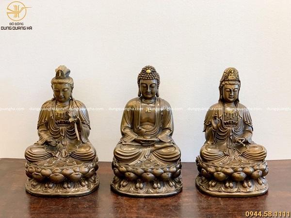 Bộ tượng tam thánh Phật bằng đồng vàng hun đen cao 40cm