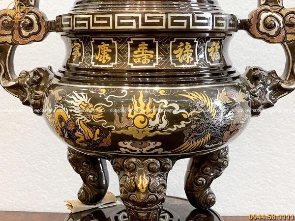 Đỉnh đồng thờ cúng long phụng khảm ngũ sắc cao 50cm