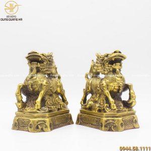 Đôi Kỳ Lân phong thủy bằng đồng vàng mộc cao 20cm