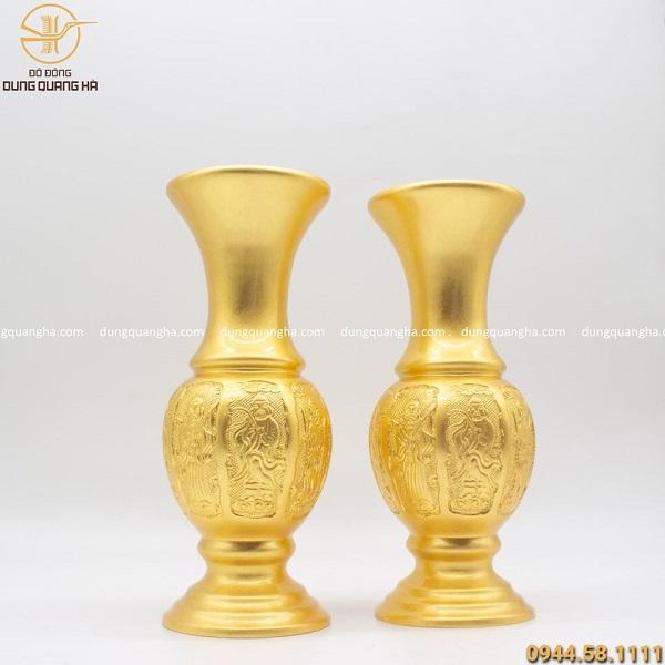 Đôi lọ hoa thờ mạ vàng 24k cao 30cm hoa văn độc đáo