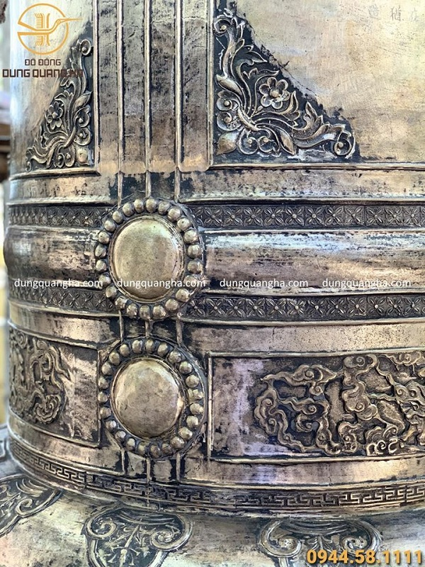 Đúc chuông đồng đại hồng chung nặng 1 tấn hoa văn cổ kính