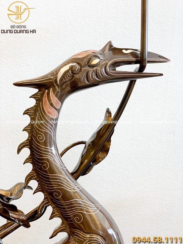 Hạc đồng thờ cúng khảm tam khí cao 60cm hoa văn cổ kính