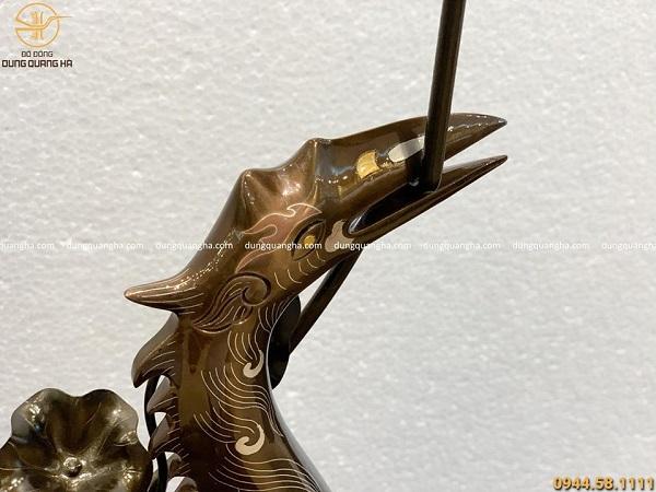 Hạc thờ bằng đồng đỏ khảm ngũ sắc cao 55cm đẹp cổ kính