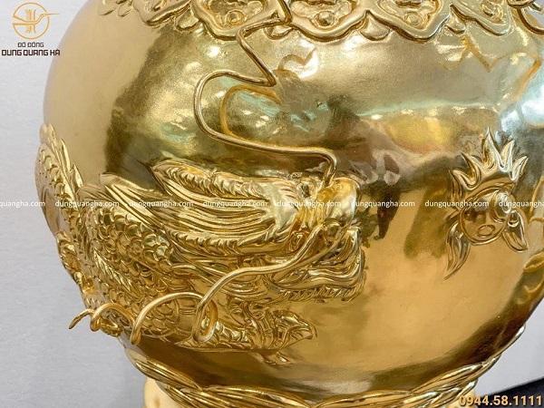 Lọ hoa trang trí phong thủy dát vàng cao 60cm - cả đế 78cm