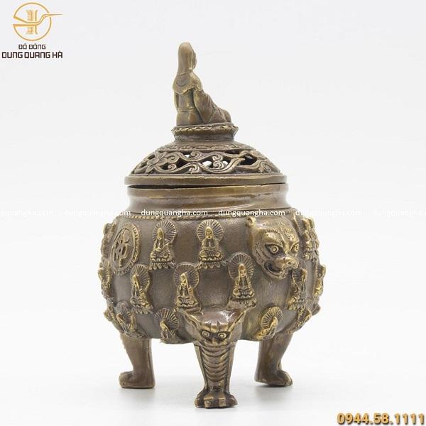 Lư đốt trầm tạo hình Phật bà Quan Âm hun giả cổ 16cm